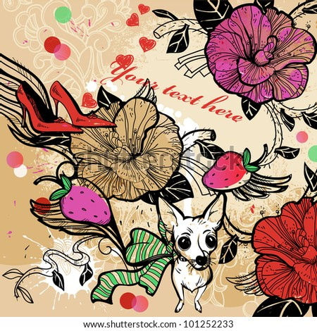 vector illustration of a white doggy with colorful flowers and berries