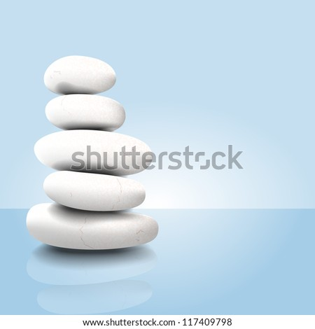 Vector illustration of a white stack of zen spa stones - stock vector