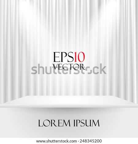 Vector illustration of a white stage curtain - stock vector