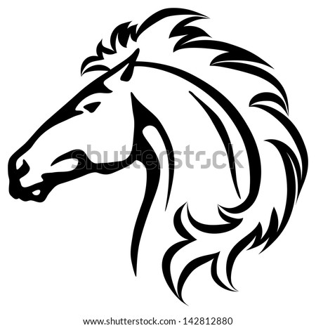 vector illustration of a wild horse head