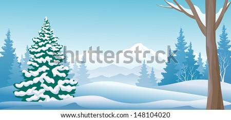 Vector illustration of a winter scene - stock vector