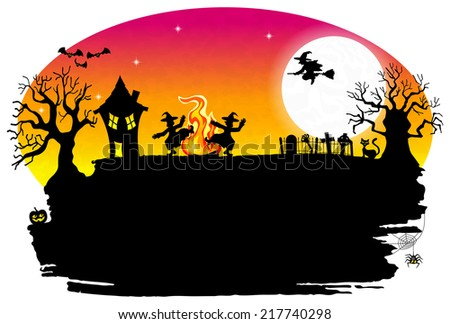vector illustration of a witch dancing around the fire at halloween