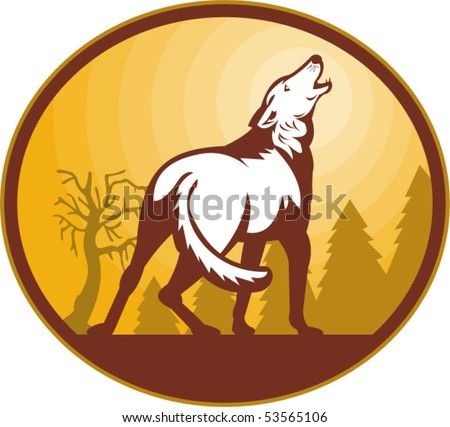 vector illustration of a Wolf howling at the moon viewed from the rear set inside an oval. - stock vector