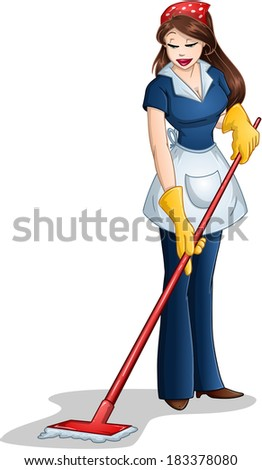 Vector illustration of a woman cleaning with mop for Passover.  - stock vector