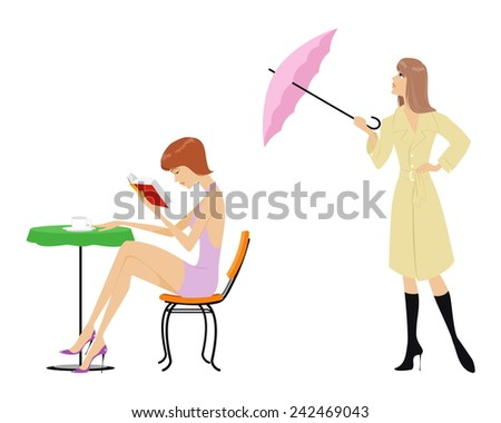 Vector illustration of a woman life scene