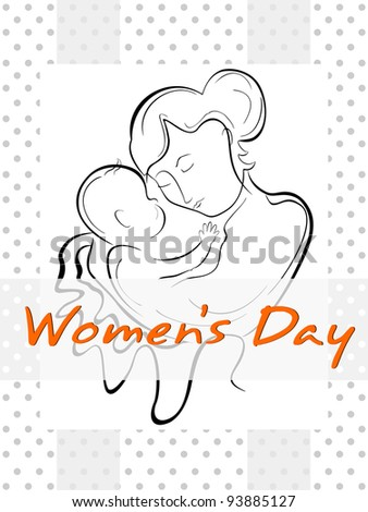 Vector illustration of a woman or a mother having her baby with the line art creation. - stock vector