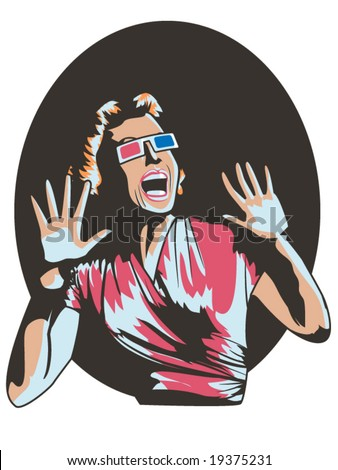 vector illustration of a woman screaming in a 3-D movie - stock vector