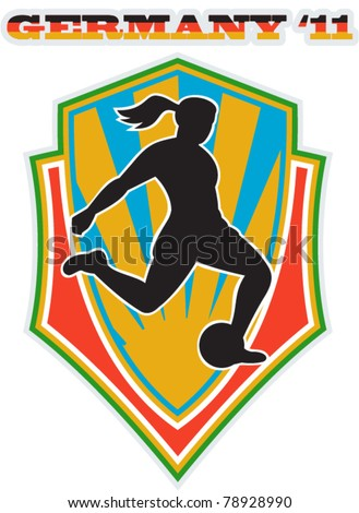 vector illustration of a woman soccer player kicking the ball set inside shield with words Germany 11