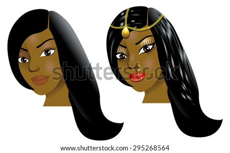 Vector Illustration of a woman with little or no makeup, natural before and after styling. - stock vector