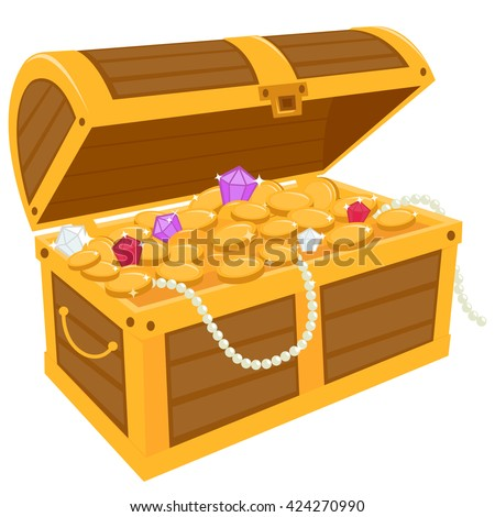 Vector illustration of a wooden chest filled with gold treasure - stock vector