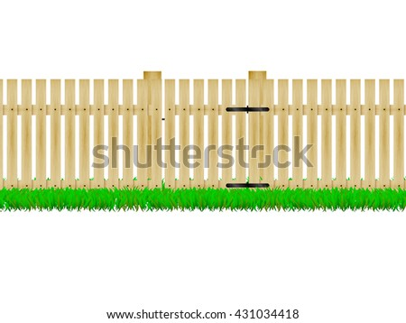 farm fence drawing. Vector Illustration Of A Wooden Fence With The Door On Green Grass. Design, Farm Drawing