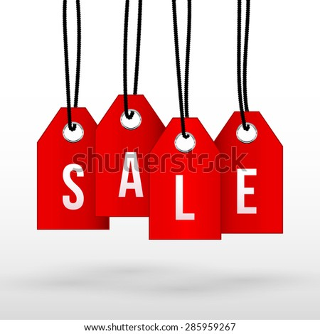 "Vector illustration of a word ""Discount"" on bright red labels hanging on black ropes"