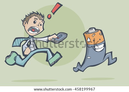 Vector illustration of a worried man chasing a happy battery to charge his mobile phone.