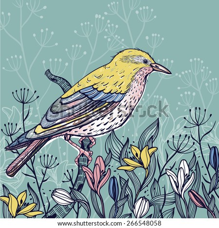 Vector illustration of a yellow bird with blooming spring flowers - stock vector