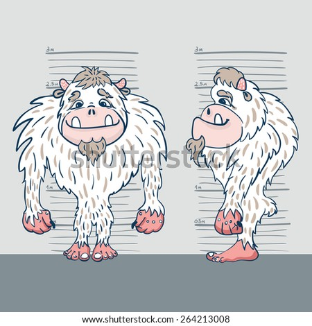 vector illustration of a yeti from two perspectives against the background of the measuring tape - stock vector