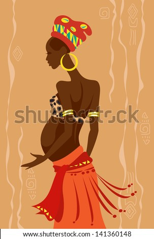 Vector illustration of a young beautiful pregnant african woman - stock vector