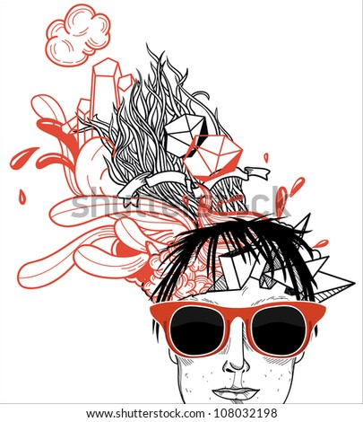 vector illustration of a young boy in vintage red glasses on an abstract background - stock vector