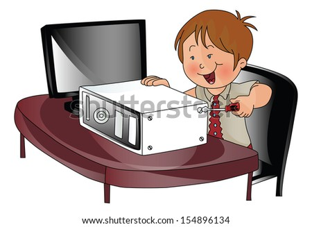 Vector illustration of a young boy repairing a cpu.