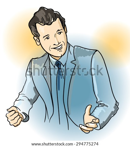 Vector illustration of a young businessman talking and smiling - stock vector