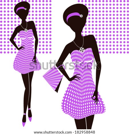 Vector illustration of a young elegant woman/ Purple dress - stock vector