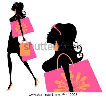 Vector illustration of a young fashionable woman holding shopping bags. - stock vector