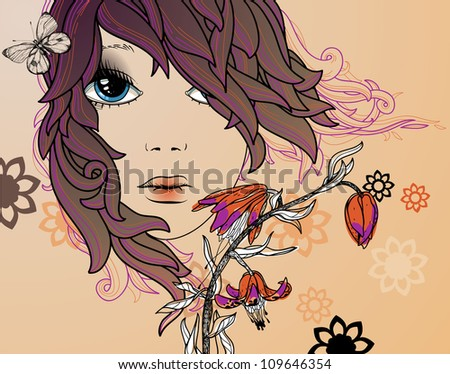 vector illustration of a young girl and colorful flowers - stock vector