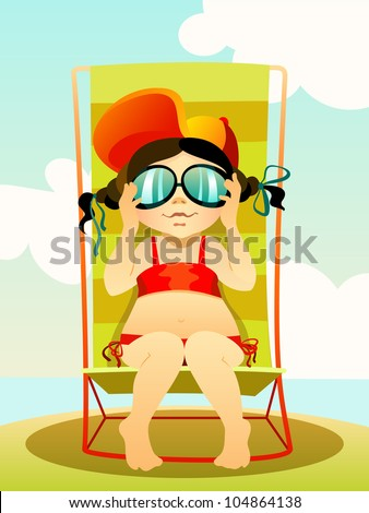 Vector illustration  of a young girl in sunglasses on a beach - stock vector