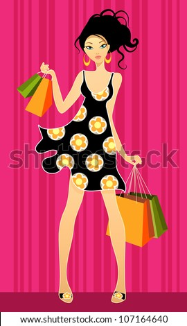 Vector illustration of a young girls shopping - stock vector