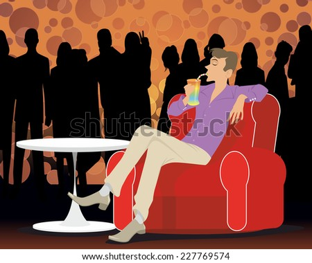 Vector illustration of a young man at a party - stock vector