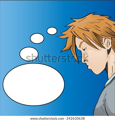 Vector illustration of a young man / boy thinking, sulking, concentrating etc. - stock vector