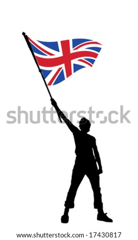 vector illustration of a young man holding a flag of great britain