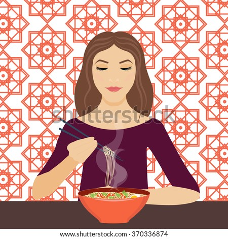 Vector illustration of a young woman eating noodle soup with chopsticks in a 	restaurant. Dinner time. Eating. Vector background is made in chinese geometric style. Chinese cuisine. - stock vector