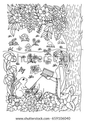 Girl Reading A Book Under A Tree Drawing