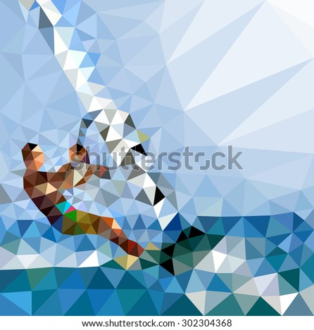 Vector illustration of abstract background for design. Polygonal Mosaic. Windsurfing. Triangular low poly style. Template for poster.