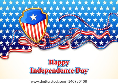vector illustration of abstract background in American flag color for Independence Day of America - stock vector