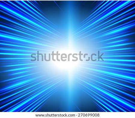 vector illustration of abstract background with blurred magic neon blue light rays - stock vector