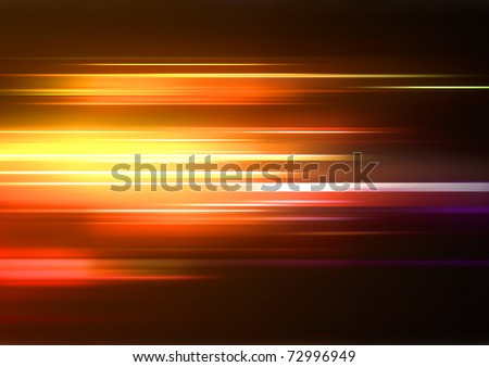 Vector illustration of abstract background with blurred magic neon orange lights - stock vector