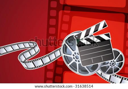 Vector illustration of abstract background with film, clapperboard and a film reel - stock vector