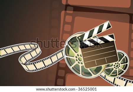 Vector illustration of abstract background with film, clapperboard and a film reel