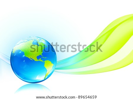 Vector illustration of abstract background with glossy earth globe - stock vector