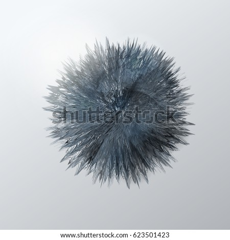Vector illustration of abstract background with grey round shape furry sphere look like 3d
