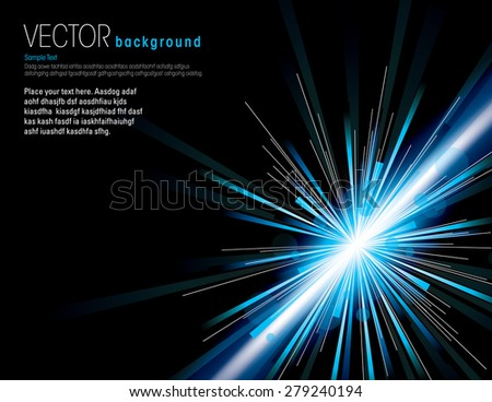 Vector illustration of abstract background with neon blue light rays. - stock vector