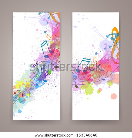 Vector Illustration of Abstract Banners with Music notes - stock vector