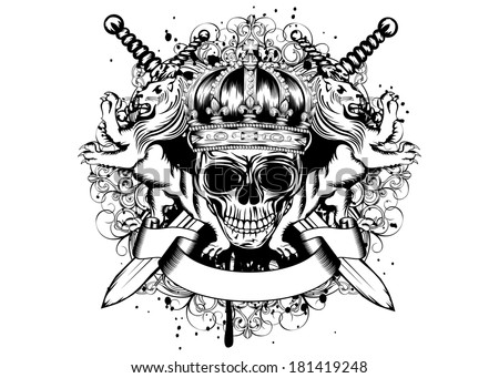Vector illustration of abstract blazon with skull in crown, crossed swords, heraldic lions and an ornament - stock vector
