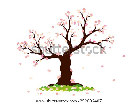 Vector illustration of abstract blossom tree on white background