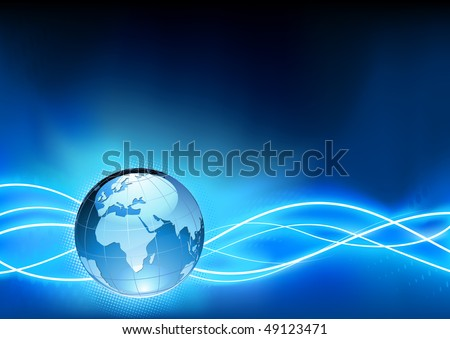 Vector illustration of abstract blue Background with Glossy Earth Globe