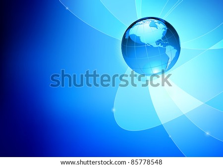Vector illustration of abstract blue Background with Glossy Earth Globe - stock vector