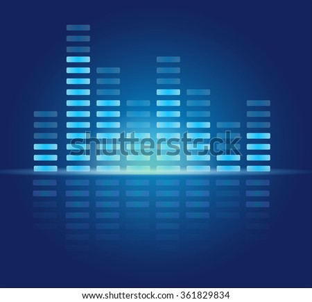 Vector illustration of abstract blue music waves. - stock vector