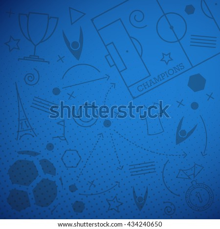 Vector illustration of abstract blue soccer background with different football icons for your design - stock vector
