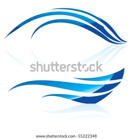 Vector illustration of abstract blue waves on white background #2